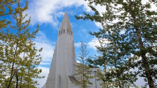Hallgrimskirkja showing religious elements, heritage architecture and a church or cathedral
