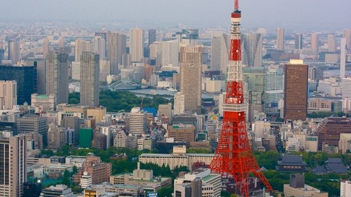 Tokyo Tower which includes a city, city views and a high rise building