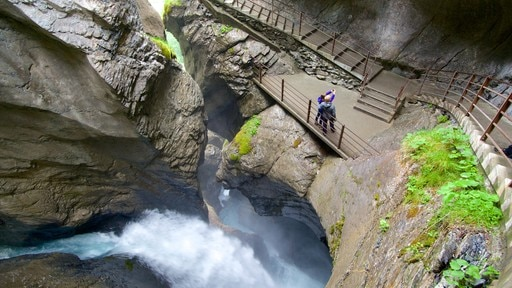 Trummelbach Falls featuring a waterfall, a gorge or canyon and views