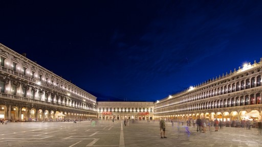 St. Mark\'s Square which includes night scenes, a square or plaza and heritage architecture