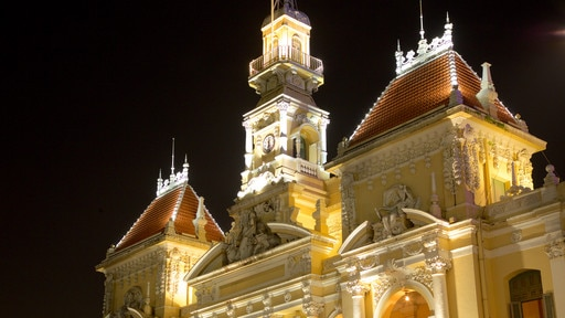 Ho Chi Minh City Hall which includes night scenes and heritage architecture