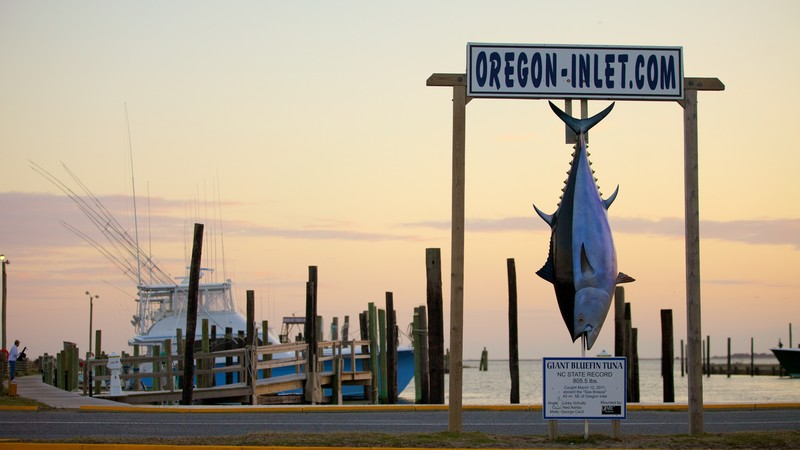 Oregon Inlet Fishing Center which includes boating, signage and fishing