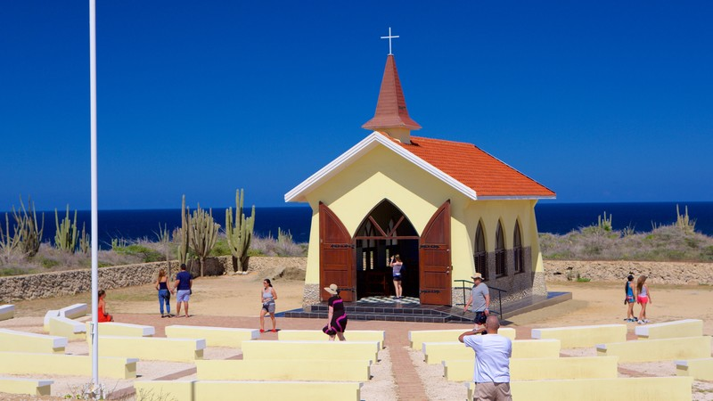 Alto Vista Chapel showing general coastal views and a church or cathedral