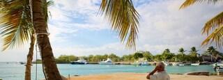 Bayahibe Beach showing general coastal views as well as an individual male