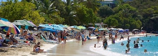 Coki Beach which includes a sandy beach as well as a large group of people