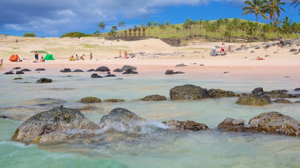 Anakena Beach which includes a sandy beach