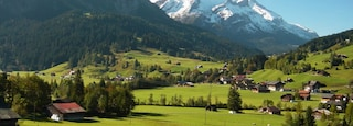 Gstaad showing mountains, farmland and tranquil scenes