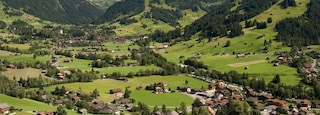 Gstaad which includes a small town or village, tranquil scenes and mountains