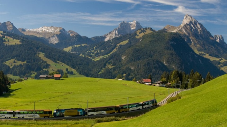 Gstaad featuring tranquil scenes, railway items and mountains