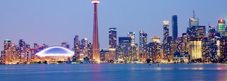 Toronto which includes a high rise building, a city and night scenes