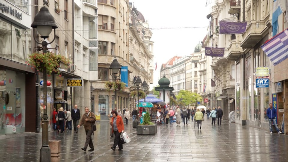 Knez Mihailova Street which includes street scenes and a city as well as a large group of people