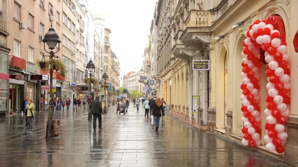 Knez Mihailova Street showing street scenes and a city as well as a large group of people