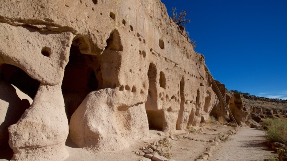 Puye Cliff Dwellings showing heritage elements and building ruins