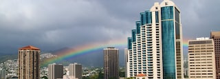 Downtown Honolulu which includes a city, skyline and modern architecture