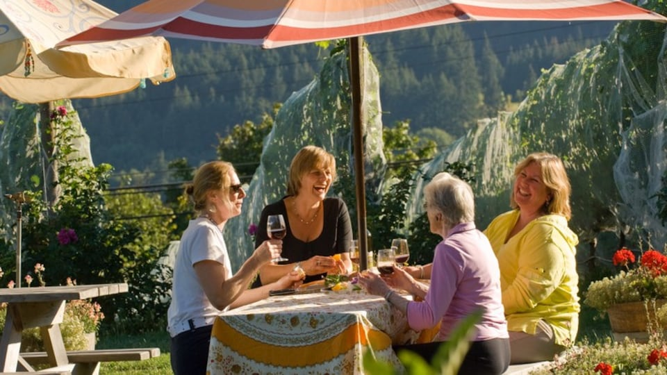 Salt Spring Island which includes outdoor eating as well as a small group of people