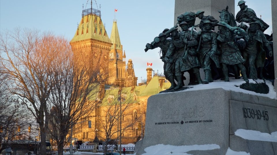 Confederation Square which includes a monument, heritage architecture and an administrative buidling
