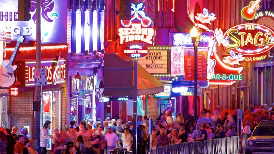 Vanderbilt University - Music Row showing night scenes, a city and nightlife