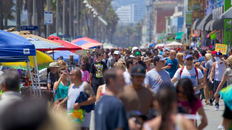 Venice Beach showing street scenes and a city as well as a large group of people