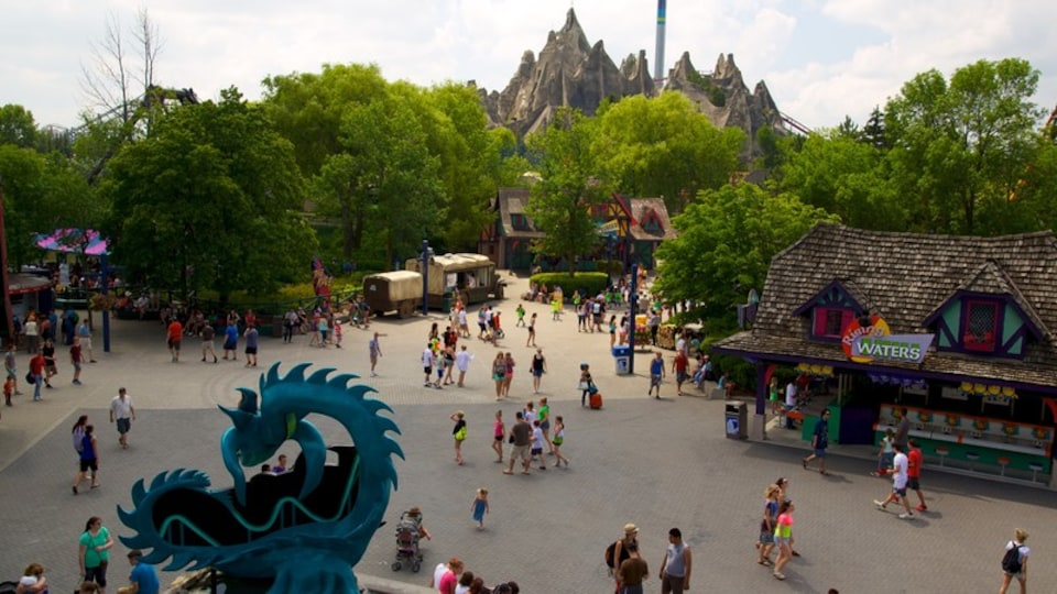 Canada\'s Wonderland featuring rides as well as a large group of people