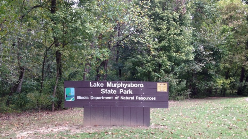 Lake Murphysboro State Park featuring signage and forest scenes