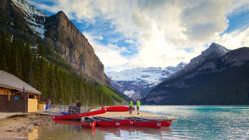 Banff National Park featuring tranquil scenes, mountains and a sandy beach