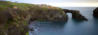 Mendocino Headlands State Park which includes rocky coastline and general coastal views