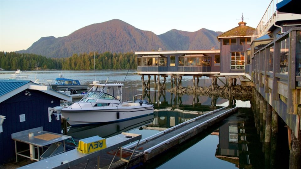 Tofino showing tranquil scenes, a lake or waterhole and a sunset