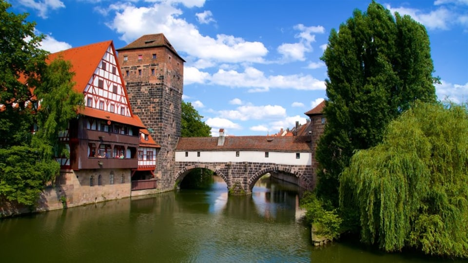 Maxbrucke featuring a bridge, heritage elements and a river or creek