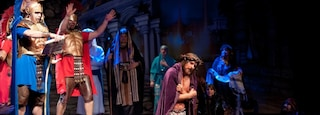 Holy Land Experience which includes performance art and interior views as well as a large group of people