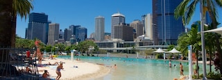 Southbank Parklands featuring a beach, a city and a pool