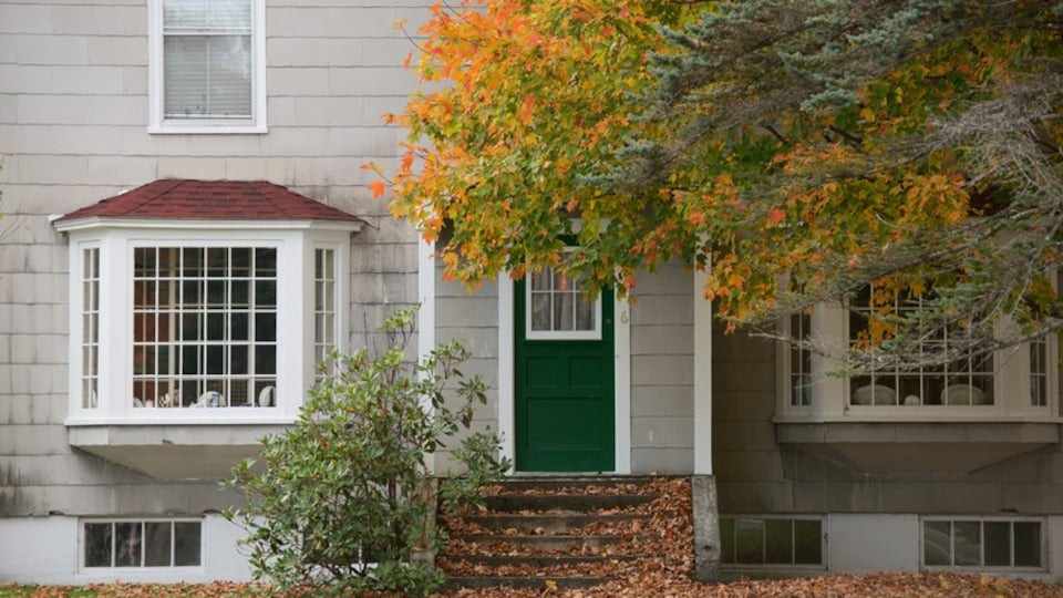 Lincoln featuring autumn leaves and a house