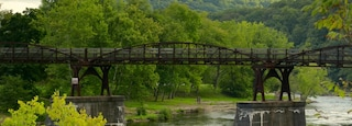 Ohiopyle State Park showing a river or creek, tranquil scenes and a bridge