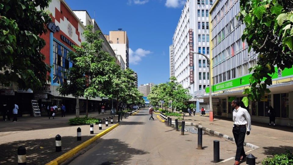 Nairobi featuring street scenes and a city as well as an individual male