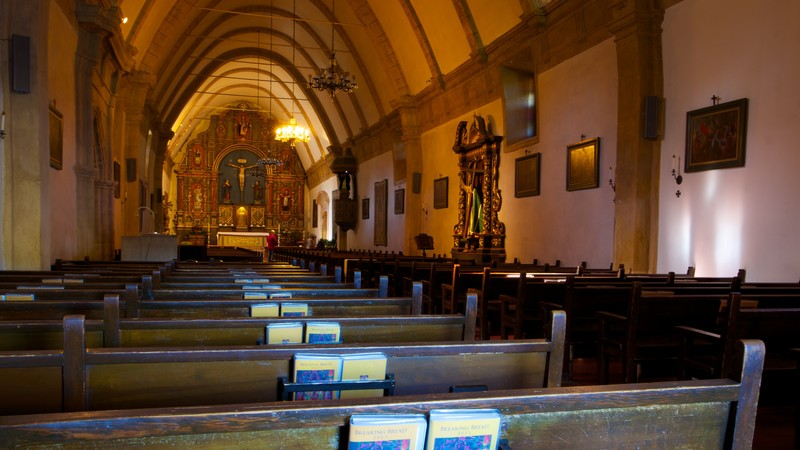 Carmel Mission showing a church or cathedral, interior views and religious aspects