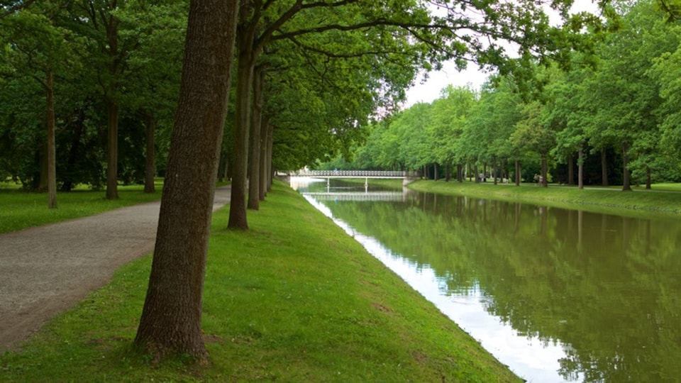 Karlsaue Park showing a garden and a river or creek