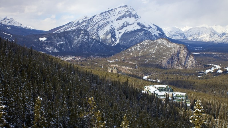 Banff Gondola which includes snow, mountains and landscape views