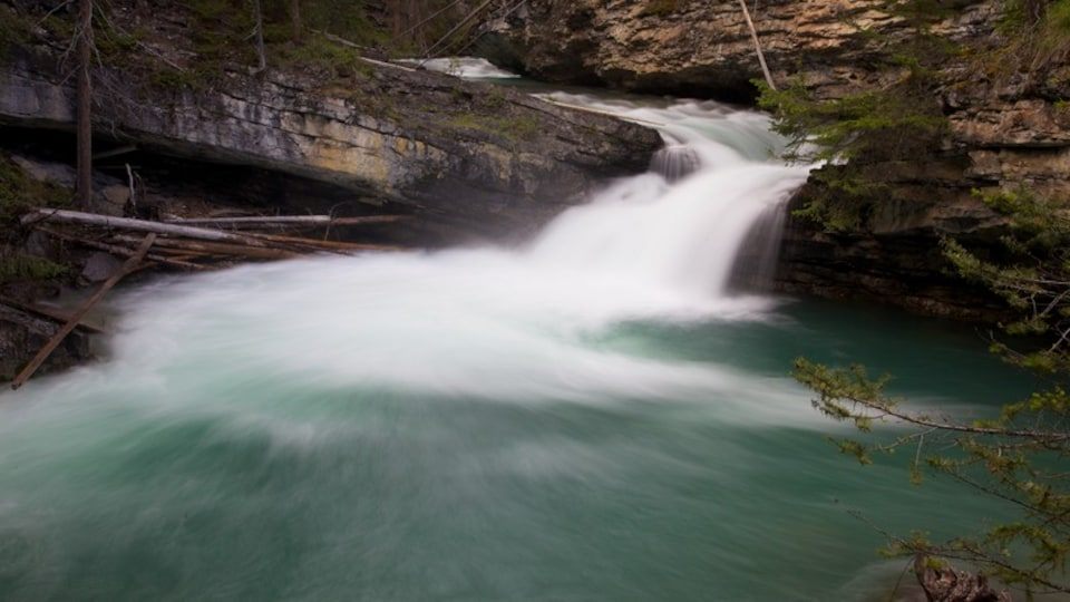 Johnston Canyon featuring a waterfall, a gorge or canyon and landscape views