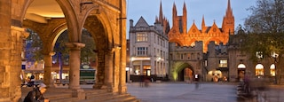 Peterborough which includes night scenes, heritage elements and street scenes