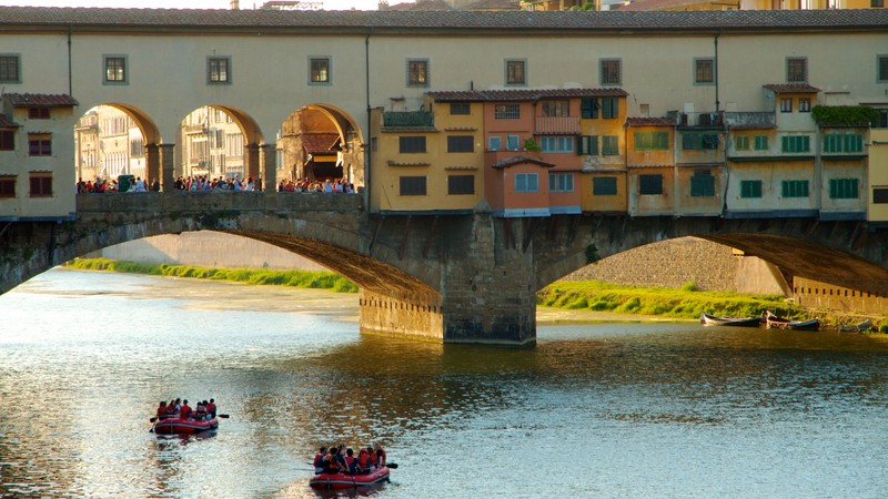 Ponte Vecchio showing a river or creek, a city and a bridge