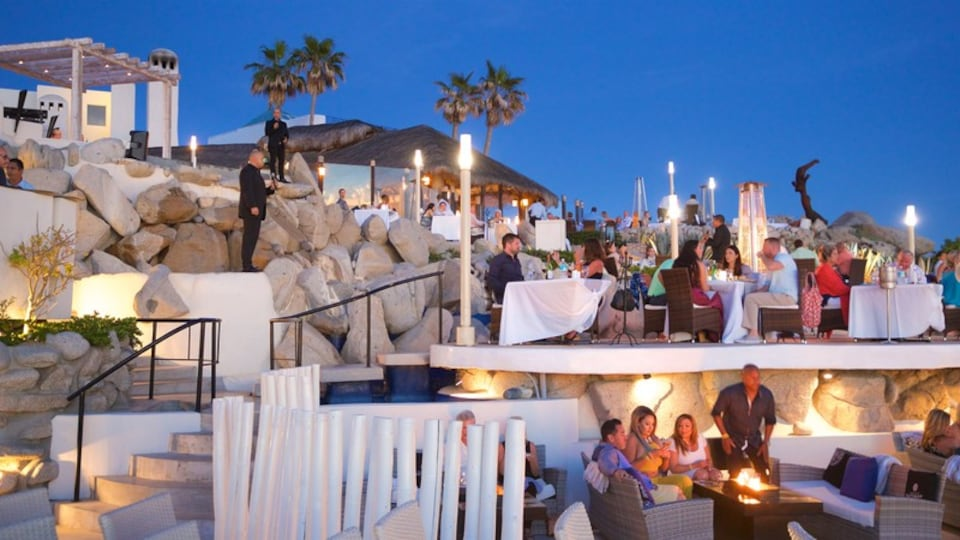 San Jose del Cabo which includes dining out, outdoor eating and night scenes