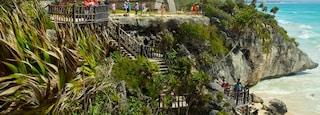 Tulum Mayan Ruins showing a ruin, general coastal views and rugged coastline