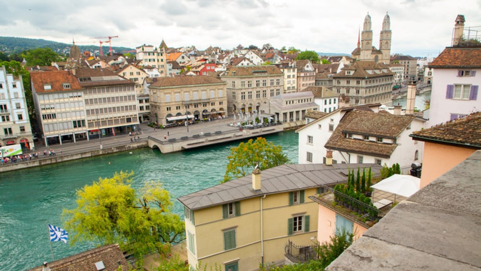 Lindenhof which includes a river or creek, landscape views and a city