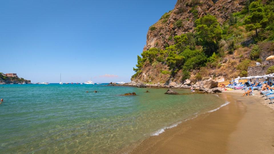 Bay of San Montano featuring general coastal views, a beach and rugged coastline