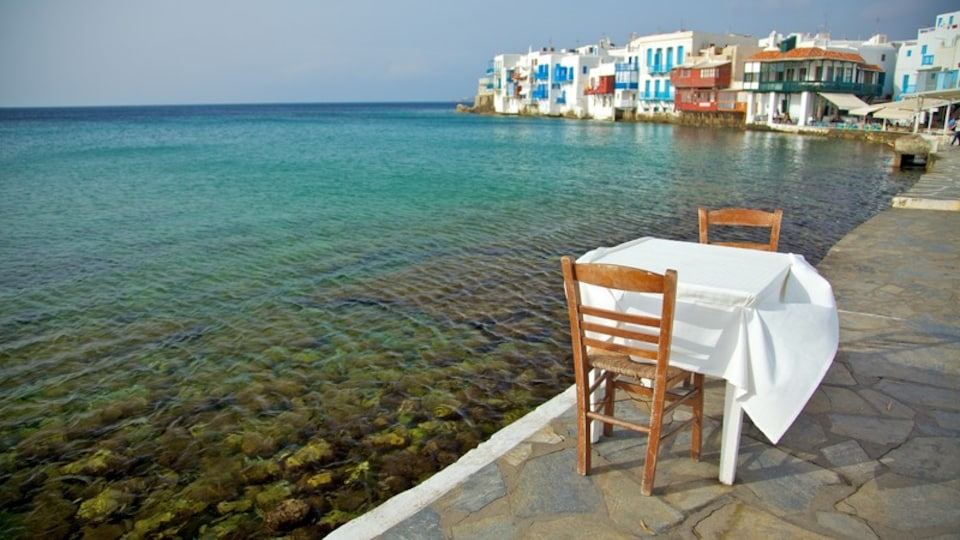Mykonos Town which includes a coastal town, general coastal views and heritage architecture