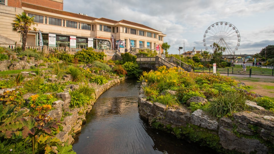 Bournemouth City Centre showing a river or creek