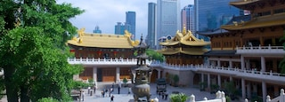 Jing An Temple which includes a city and a temple or place of worship