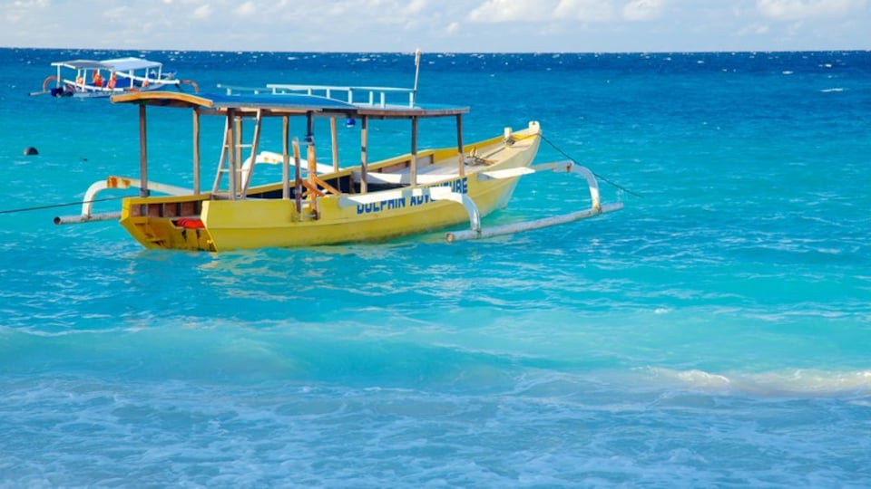 Gili Islands showing boating and surf
