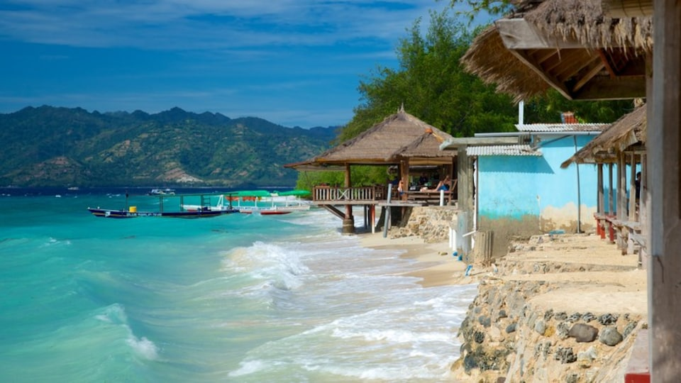 Gili Islands which includes a beach and a coastal town