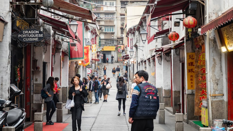Macau City Centre which includes street scenes as well as an individual male