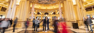 Venetian Macao Casino showing heritage elements and interior views as well as a small group of people